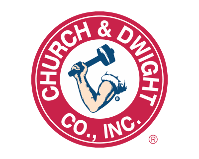 "Church and Dwight logo on a clear background; A strong arm with text ""Church & Dwight Co., Inc."" surrounding the image."