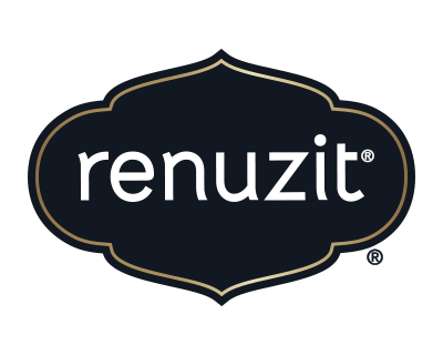 Renuzit logo in white font and a black background.